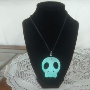 Turquoise Skull Cut Stone Necklace